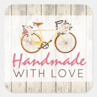 Adesivo Quadrado Handmade com a bicicleta do vintage do chique do