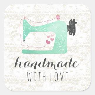 Adesivo Quadrado Handmade com a máquina de costura do amor no laço