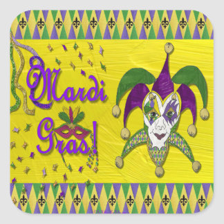 Adesivo Quadrado Harlequin do carnaval da máscara do bobo da corte