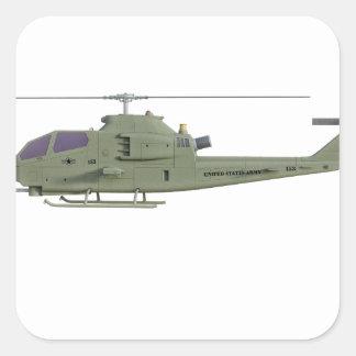 Adesivo Quadrado Helicóptero de Apache no perfil da vista lateral