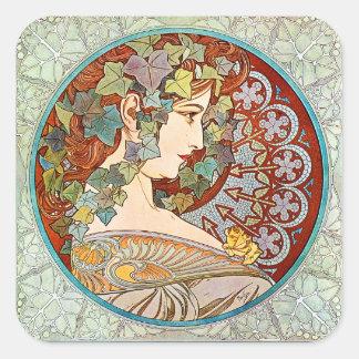 Adesivo Quadrado Hera de Alphonse Mucha