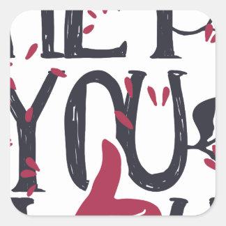 Adesivo Quadrado Hey você eu te amo