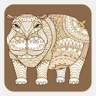 Adesivo Quadrado Hipopótamo