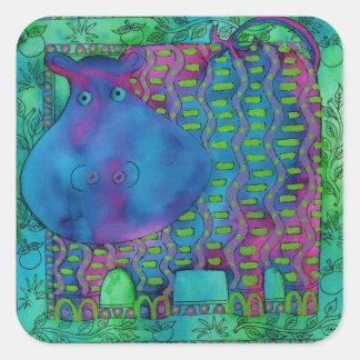 Adesivo Quadrado Hipopótamo modelado