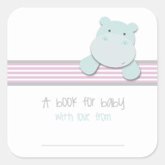 Adesivo Quadrado Hipopótamo pequeno - livro para Bookplates do bebê