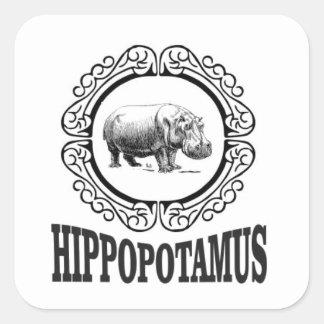 Adesivo Quadrado Hipopótamo quadro