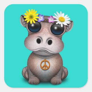 Adesivo Quadrado Hippie bonito do hipopótamo do bebê