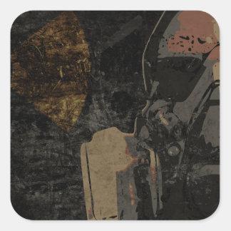 Adesivo Quadrado Homem com máscara protetora na placa de metal