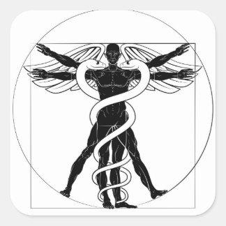 Adesivo Quadrado Homem de Vitruvian do Caduceus
