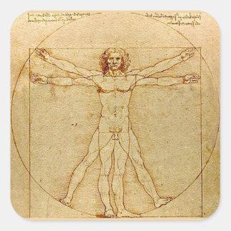 Adesivo Quadrado Homem de Vitruvian, Leonardo da Vinci, cerca de