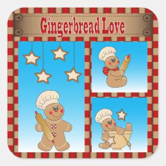 Adesivo Quadrado Homens de pão-de-espécie do biscoito do Natal