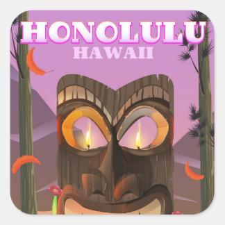 Adesivo Quadrado Honolulu Havaí o poster de viagens da máscara