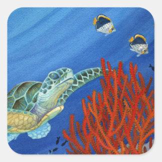 Adesivo Quadrado Honu e coral preto