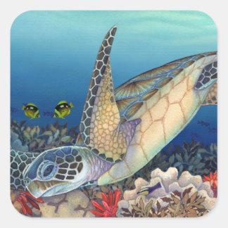 Adesivo Quadrado Honu (tartaruga de mar verde)