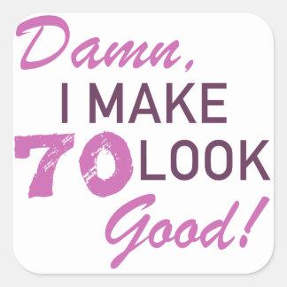 Adesivo Quadrado humor do aniversário do 70