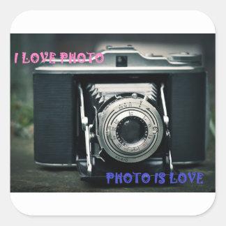 ADESIVO QUADRADO I LOVE PHOTO PHOTO IS LOVE