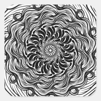Adesivo Quadrado Ilusão óptica do Doodle ornamentado do zen preto e
