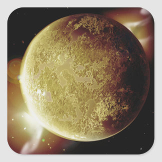 Adesivo Quadrado ilustração amarela do planeta 3d no universo