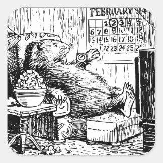 Adesivo Quadrado Ilustração do branco do preto do dia de Groundhog
