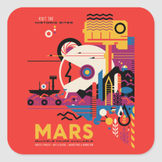 Adesivo Quadrado Ilustração futurista retro do turismo de Marte