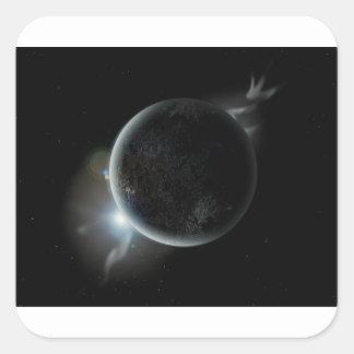 Adesivo Quadrado ilustração preta do planeta 3d no universo