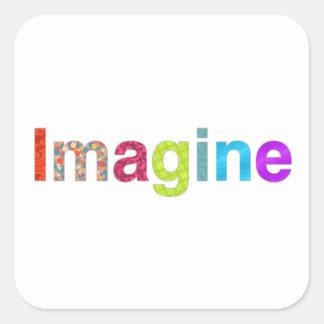Adesivo Quadrado Imagine o presente colorido da inspiração do