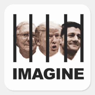 Adesivo Quadrado Imagine o trunfo, o McConnell e o Ryan atrás dos