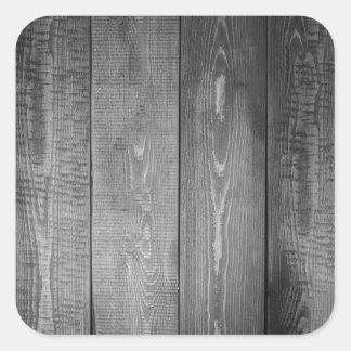Adesivo Quadrado Impressão de madeira preto e branco