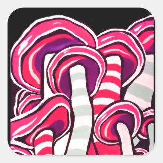 Adesivo Quadrado Impressão psicadélico Trippy cor-de-rosa do Hippie
