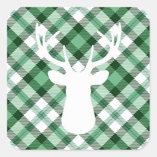 Adesivo Quadrado Impressão verde da xadrez do feriado