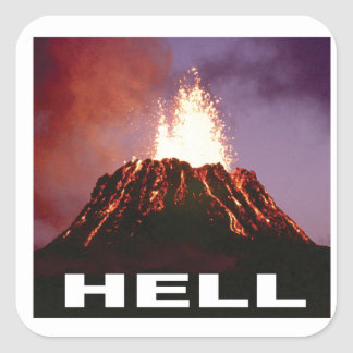 Adesivo Quadrado inferno do vulcão