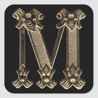 Adesivo Quadrado Inicial ou monograma dourado da letra M no preto