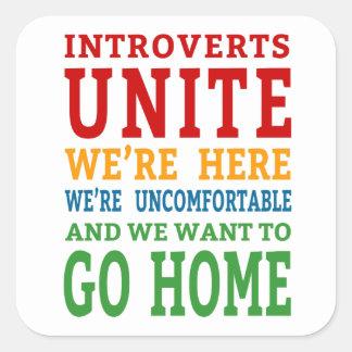 Adesivo Quadrado Introverts unem-se - nós estamos aqui e queremos