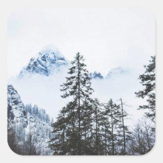 Adesivo Quadrado Inverno dos againts da floresta do pinho