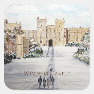 Adesivo Quadrado Inverno na pintura de paisagem do castelo de