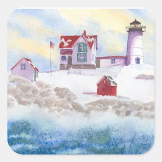 Adesivo Quadrado Inverno no farol do Nubble em Maine Sticke