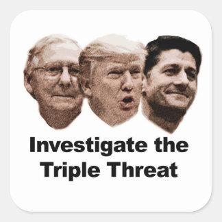 Adesivo Quadrado Investigue a ameaça tripla