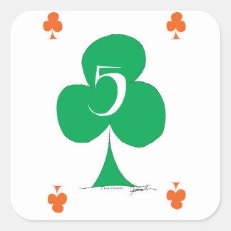 Adesivo Quadrado Irlandês afortunado 5 dos clubes, fernandes tony