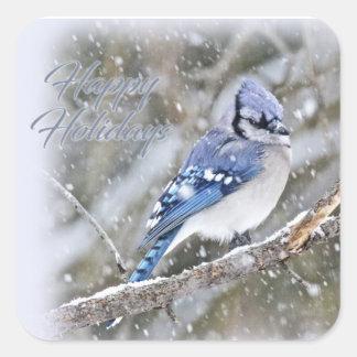 Adesivo Quadrado Jay azul no feriado do Natal da neve