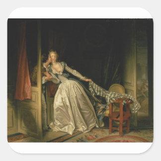 Adesivo Quadrado Jean-Honore Fragonard - o beijo roubado - belas