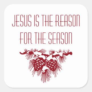 Adesivo Quadrado JESUS É a RAZÃO PARA a ESTAÇÃO inspirada