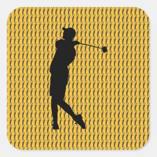 Adesivo Quadrado Jogador de golfe