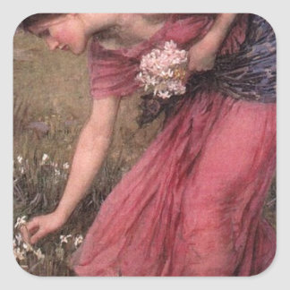 Adesivo Quadrado John William Waterhouse - narciso - belas artes