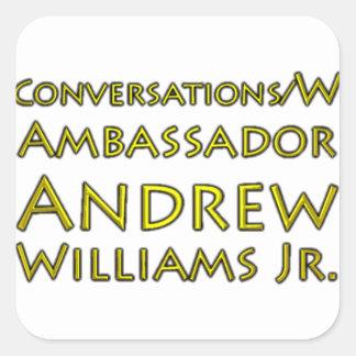 Adesivo Quadrado Jr. das conversações w/Ambassador Andrew Williams