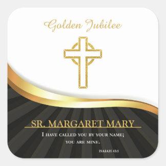 Adesivo Quadrado Jubileu dourado da vida religiosa, 50 anos