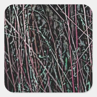 Adesivo Quadrado Juncos multicoloridos no rosa e no verde
