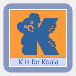 Adesivo Quadrado K é para o alfabeto animal do Koala para miúdos