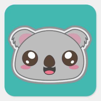 Adesivo Quadrado Kawaii, o divertimento e o koala engraçado