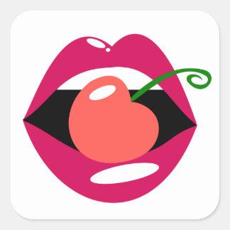 Adesivo Quadrado Lábios da cereja