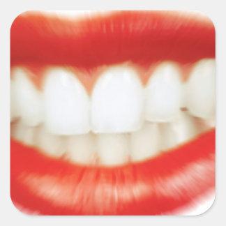 Adesivo Quadrado Lábios vermelhos